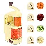 Reesibi Cortador de Verdura con 4 Cuchillas 1 Caja, Espiralizador de Verduras Cortador Cocina corta verduras y frutas en forma de espiral o espagueti, Rallador de verduras en espiral de sobremesa
