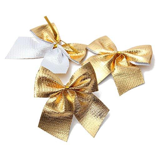 Pixnor 24 Stück Schleifen, Weihnachtsbaum, Dekoration zu Weihnachten, Deko, Schleifen (Goldfarben)