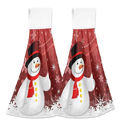Christmas Snowflakes Snowman Kitchen Hanging Towel 12 x 17 Inch Xmas Snowmen Hand Tie Towels Set 2 Pcs Tea Bar Dish Cloths Dry Towel Soft Absorbent Durable for Bathroom Laundry Room Decor