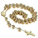 Cupimatch Collar Cruz Acero Inoxidable Collar para Hombre Rosarios Religiosos Budista Regalo San Valentin Navidad Oro