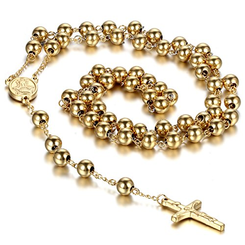 Cupimatch Collana unisex a rosario, in acciaio inox, ispirata alla tradizione cristiana e cattolica, con ciondolo a forma di crocifisso e catena con perline, colore: oro