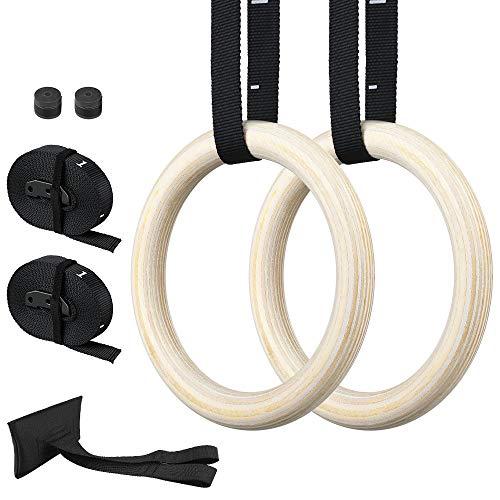 Zacro Anelli da Ginnastica in Legno, Anelli Fitness da 700 kg / 1543 Libbre con Fibbia Regolabile Cinghie di Sicurezza Lunghe 15 Piedi, Anelli di Allenamento Antiscivolo