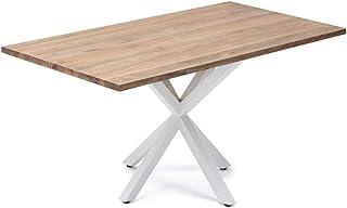Table de salle à manger pied étoile 160 x 80 x 75 cm blanc en bois massif de pin de 30 mm d'épaisseur avec finition vintag...