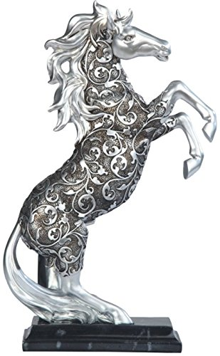 George S. Chen Imports SS-G-11679 Silver Toned Engraved Horse Standing Statue, 12