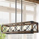 Island Light Fixtures, Rectangular Wood Farmhouse Chandelier for Dining Rooms, 5-Light Kitchen Island Lighting