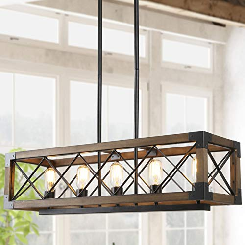 Island Light Fixtures, Rectangular Wood Farmhouse Chandelier for Dining Rooms, 5-Light Kitchen Island Lighting