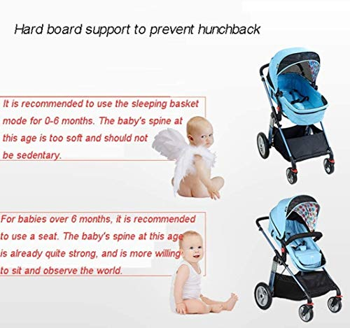 LAMTON Baby Pushchair, Buggy, Pushchairs Baby Stroller with Reversible Bassinet Compact Pushchair Suitable for Children 0-3 Years Old,80x100cm (Color : Blue) LAMTON The adjustable 5-point safety harness has comfortable shoulder pads, The sturdy frame has a wider seat which results in a more comfortable ride for your child The stroller can be easily folded, smaller and more portable; the adjustable backrest angle can be seated or lying down, as well as a large shopping basket and caster ★Carbon steel frame, sturdy, lightweight, durable, easy to store and travel 2