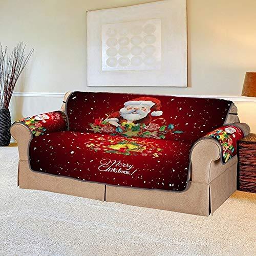 weichuang Funda de sofá de Navidad con estampado digital 3D para sala de estar, funda elástica para sofá de 1/2/3 plazas, funda elástica para sillón protector (color: Papá Noel 2 asientos)