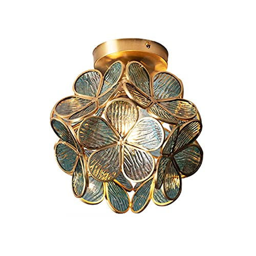 Lampade da soffitto a forma di petalo pastorale Euro Creativo Verde Fiore Corridoio Lampade a Sospensione Vetro Paralume Balcone Lampada da Soffitto per Portico Cucina Corridoio Corridoio
