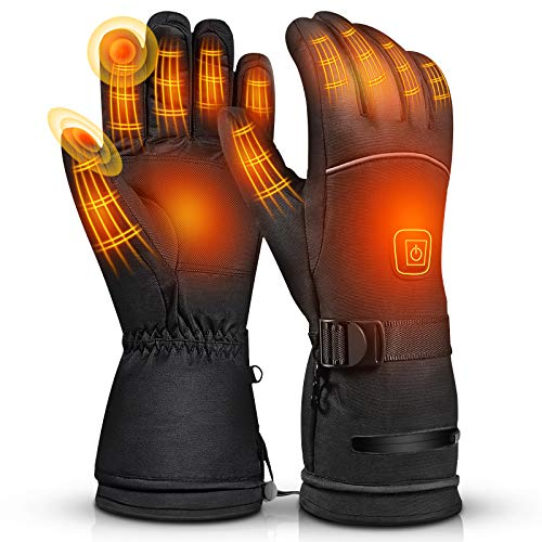 Balhvit Winter Heated Gloves for Men Women, Rechargeable Electric Motorcycle Gloves and Ski Gloves, Cold Weather Waterproof Touch Screen Warm Gloves...