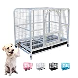 ASUNXL Heavy Duty Metal Dog Kennel Pet Cage with Crate Tray and Wheels, 4 Sizes and Colors are Suitable for Large, Medium and Small Dogs,White,L