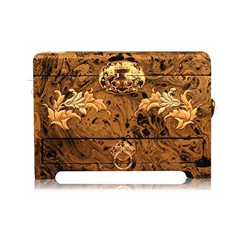 Haihf sieradenkistje, sieraden van hout Chinese opbergdoos Pingyao handgemaakt houten push lak sieraden cassette blokkeren solide houten stora GE-box