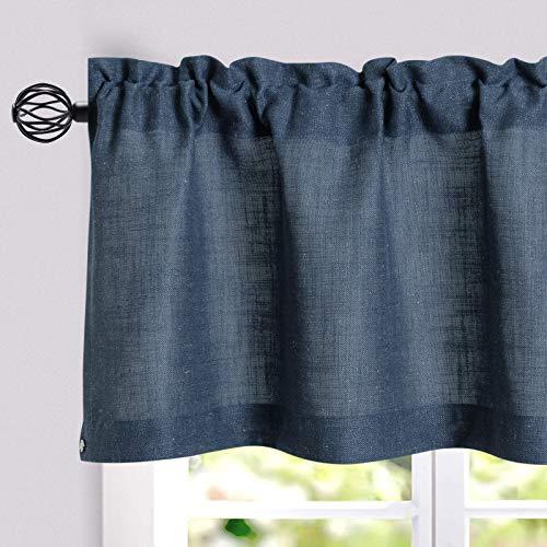 jinchan Linen Valance for Kitchen Living Room Rod Pocket Flax Rustic Window Treatments 1 Panel 18 inch Length Indigo Blue