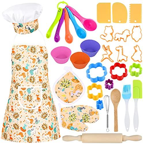 GOLDGE 32pcs Juego de Chef para Niños, Gorro y Delantal Cocinero Niño, Conjunto de Juego de rol de Chef, Juguete de Cocina para Niños con Juego de rol de Chef