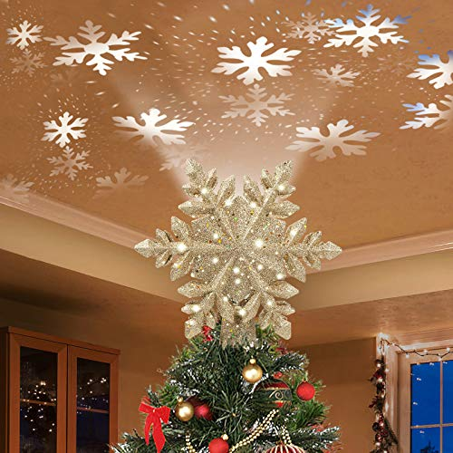 DG-Direct Christmas Tree Topper Lighted with Golden Snowflake Projector, Led Rotating Magic Snowflake, 3D Hollow Glitter Lighted Gold Snow Tree Topper for Christmas Tree Decorations