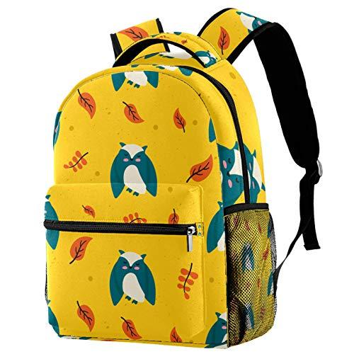 Cute Cartoon Owl Maple Leaf Pattern Backpack for Teens School Book Bags Travel Casual Daypack