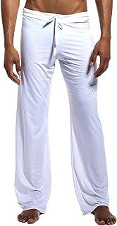 Men Loose Lounge Pants Ice Silk Sleepwear Sport Yoga Long Pants Pajamas Bottom Homewear Trousers