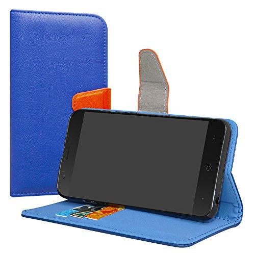 LiuShan Wiko Harry Funda, PU Cuero Book Style Billetera Cartera Monedero con Soporte Funda Caso para Wiko Harry Smartphone(con 4 en 1 Regalo empaquetado),Azul