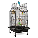 SOLID CONSTRUCTION - Bird cage consists of a strong and steady main metal frame that could make the cage more durable and solid. It consists of a long-lasting metal wire bar to secure big birds. With a non-toxic powder-coated finish, the metal wire b...