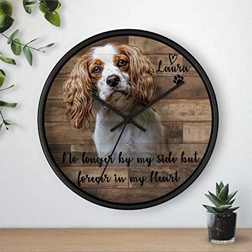 Reloj de pared redondo de madera para amantes del arte de la comisión del perro, reloj de madera rústica, decoración para el hogar, cocina, dormitorio, baño, oficina, sala de estar, comedor.