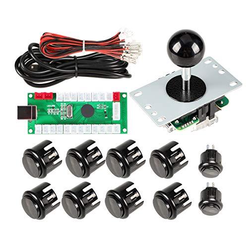 EG STARTS 1 Spieler Arcade DIY Kit USB-Encoder zu PC Arcade Joystick-Tasten für USB MAME PC-Spiel DIY & Raspberry Pi Retro Controller Teile (Schwarz)
