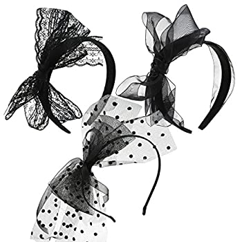 Hicarer 3 Pieces 80 s Party Lace Headband with Bow 80s Costumes Accessories for Women