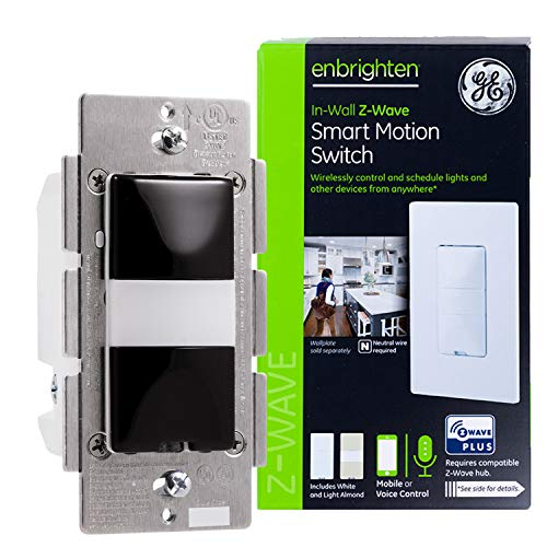 GE Enbrighten Z-Wave Plus Smart Motion Light Switch, Works with Alexa, Google Assistant, 3-Way Compatible, ZWave Hub Required, Repeater/Range Extender, Black, 35547