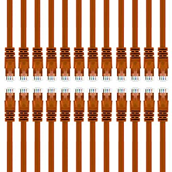 GearIT 24-Pack Cat 6 Ethernet Cable Cat6 Snagless Patch 1 Foot - Snagless RJ45 Computer LAN Network Cord Orange - Compatible with 24 48 Port Switch POE Rackmount 24port Gigabit