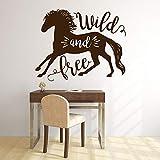 Pegatinas de pared salvaje y libre caballo texto vinilo ventana calcomanías dormitorio sala de estar decoración del hogar arte mural