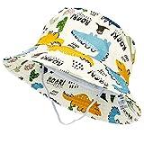 Tacobear Baby Sonnenhut Sommerhut Kinder Baumwolle Eimer Hut mit Breiter Krempe Sommer Sonnenschutz Strandhut Fischerhut für Kleinkinder Mädchen Jungen 1 2 3 4 5 Jahre (Beige-Dinosaurier)