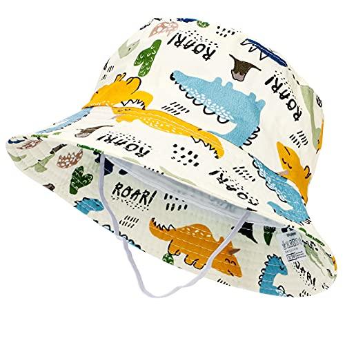 Tacobear Sombrero de Sol Bebé Verano Sombreros Pescador ala Ancha Algodón Gorra con Protección Solar Anti-UV Gorro de Playa para Infantiles Niños Niñas 1-5 Años (Beige-Dinosaurio)