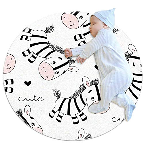 Nursery Rug Cute Zebra Baby Crawling Mat Non-Slip Play mat Soft Tent Mat for Children's Bedroom 70x70cm