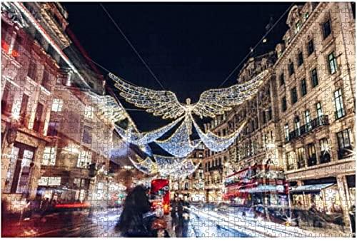 1000 piezas: luces de Navidad de Regent Street en Londres, Reino Unido, famoso complejo turístico, rompecabezas de madera, bricolaje, rompecabezas educativos para niños, regalo de descompresión para