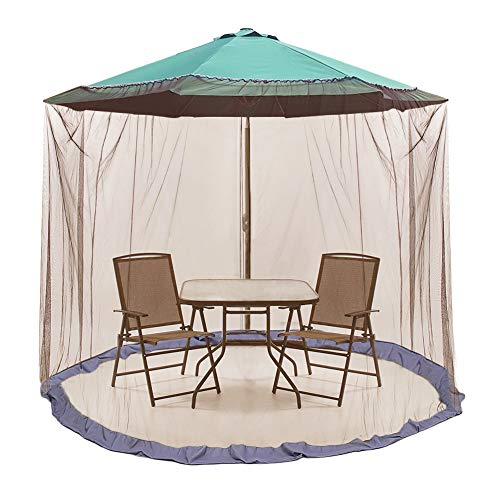 ActionEliters 9' Patio Umbrella Outdoor Table Bug Screen Mesh Coffee Mosquito Net Canopy Curtains Adjustable Enclosure Large Umbrella Hanging Tent 100% Polyester Light Weight Mosquito Netting