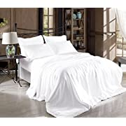 Hight Thread Count Solid Color Soft Silky Charmeuse Satin Luxury and Super Soft Bed Sheet Set (White, Queen)