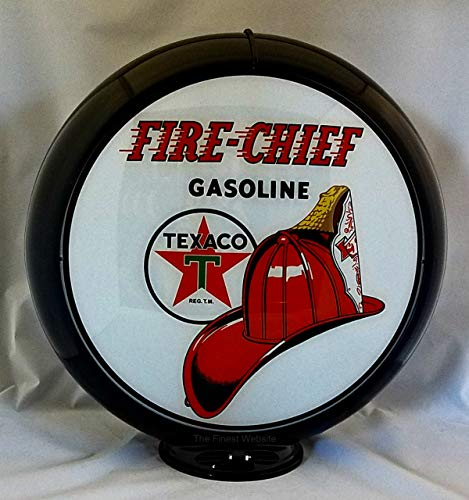 The Finest Website Inc. New Reproduction Texaco Fire Chief Gas Pump Globe Already Assembled - Black Outer Frame - Ships Free Next Business Day to Lower 48 States