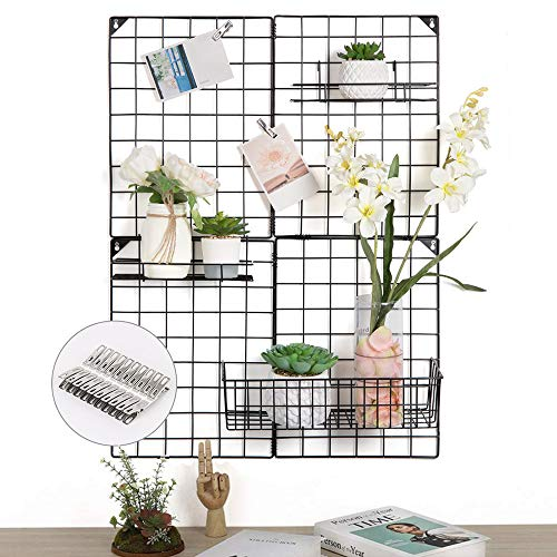 NEX Grid Photo Wall, Wire Wall Grid Panel for Home Dorm Decoration, Multi-Functional Wall Storage Display Grid with 4 Small Grid Panels & 3 Mess Baskets Offered, Black (32.7