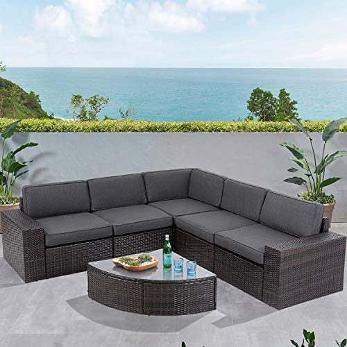 Incbruce 6-Piece Outdoor Patio Furniture Sofa Set, All-Weather Wicker Sectional Couch, Patio Garden Conversation Sets with Glass Wedge Coffee Table and Washable Cushions (Grey)