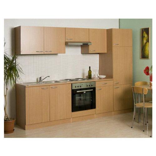Mebasa MEBAKB27EC Küche Küchenzeile 270 cm Buche Glaskeramikkochfeld Kühlschrank A+ Backofen A