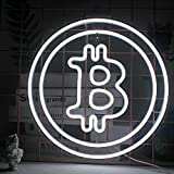 Ineonlife Bitcoin Letreros de neón LED Letrero de luz de Neón Blanco Forma de Moneda Virtual Letreros de luz de Pared de Neón USB Arte de Pared Para Dormitorio Oficina Banco Compañía Financiera