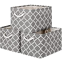 "Image of WISELIFE Storage Basket 3-Pack Large Collapsible Storage Bins Boxes Cubes for Clothes Toys Books, Perfect Storage Organizer w/Handles (Grey, 15"" x 11"" x 9.5""): Bestviewsreviews"