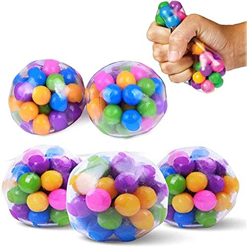 5 Pcs Stress Relief Balls Toys for Kids, Squeeze Sensory Toys Stress Ball Clear Silicone Squeeze Balls for Relieve Tension, Stress, DNA Color Stress Anxiety Relief Balls for Kids Adults Autism & ADHD