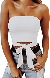 VESKRE Women's Summer Tank Tops Solid Sexy Off Shoulder Strapless Vest Bow Knot Crop Blouse