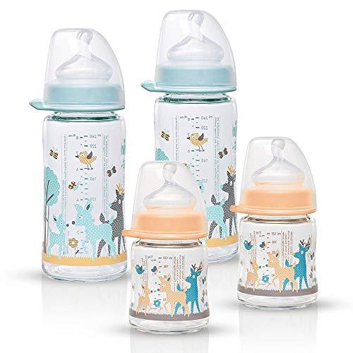 NIP Weithalsglasflasche Glas Flaschen Set Girl Mint/Creme Mix // 4er Set // Glas-Babyflasche // 120 ml & 240 ml // mit Weithalstrinksauger anatomisch, Silikon, Gr. 0+, Milch