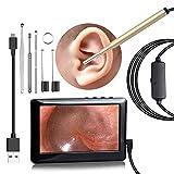 XGLL Otoscopio con Pantalla HD, Ip67 a Prueba de Agua, Lente de 3.9 mm, Herramienta para Quitar la Cera del oído de la cámara del oído (no es Necesario para un teléfono móvil),Gold