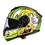 BUETR Off-road casco protector al aire libre moto bicicleta casco eléctrico casco de equitación casco deportivo-amarillo-verde (niebla blanca) _XXL