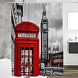 Duschvorhang London Duschvorhang Muster 240X200 cm 100prozent Polyester Anti Schimmel Wasserdicht Waschbar Beschwertem Saum Mit 12 Haken