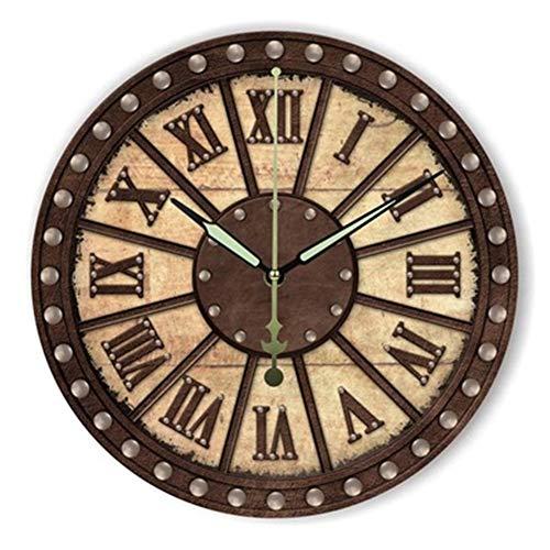 FOOSKOO Wall Clocks Horloge Murale Style rétro Vintage Vintage muet Grande Horloge Murale Montre Shabby Chic Home Decor Salon 16 Pouces / 40 cm (Conception : C)