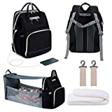 3 in 1 Diaper Backpack with USB Charge Port, Multifunctional Nappy Bag Foldable Baby Bed Travel Bassinet for Baby with Removable Curtain. Insulated Bottle Warmer Diaper Bag for Dad/Mom (Bag+Crib+USB)