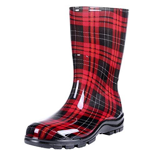 Women's Mid Calf Rain Boots Buffalo Plaid Short Waterproof Garden Shoes, Red, 8.5